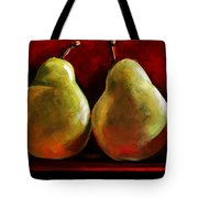 Green Pears On Red Tote Bag by Toni Grote