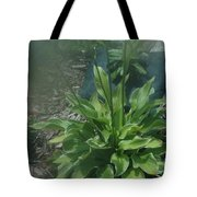 Green Plant And Pink Flowers  Tote Bag
