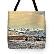Green Plow On An Early Winter Morning Tote Bag