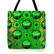 Green Polka Dot Roses Fractal Tote Bag