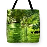Green Reflections With Sunlit Grass Tote Bag