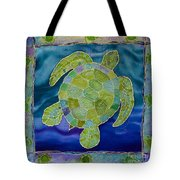 Green Sea Turtle Silk Painting Tote Bag
