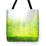 Green Spring Grass Against Natural Nature Blur Tote Bag