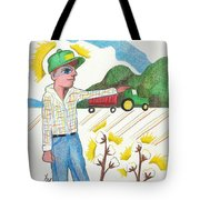 Green Tractor Hat Tote Bag