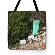 Green Trash Bag And Rubbish In Croatia Tote Bag