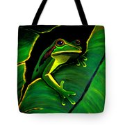 Green Tree Frog And Leaf Tote Bag