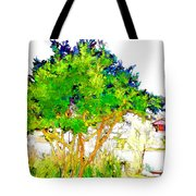 Green Trees By The Lake Tote Bag