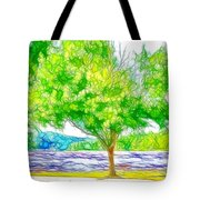 Green Trees By The Water 3 Tote Bag