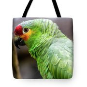 Green Tropical Parrot, Side View. Tote Bag