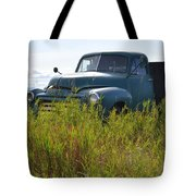 Green Truck In The Green Grass Tote Bag