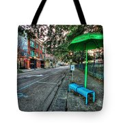 Green Umbrella Bus Stop Tote Bag by Michael Thomas