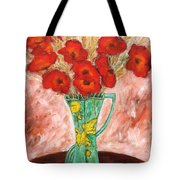Green Vase And Poppies Tote Bag