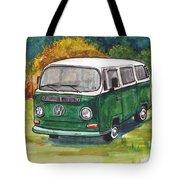 Green Vw Bus Tote Bag
