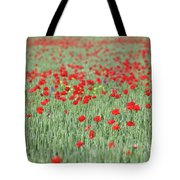 Green Wheat And Red Poppy Flowers Field Tote Bag