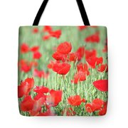 Green Wheat And Red Poppy Flowers Tote Bag