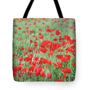 Green Wheat With Poppy Flowers Tote Bag