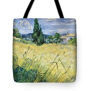 Green Wheatfield With Cypress Tote Bag