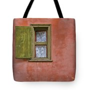 Green Window On A Red Wall Tote Bag