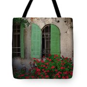 Green Windows And Red Geranium Flowers Tote Bag