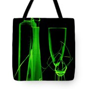 Green Wine Glasses And A Bottle Tote Bag