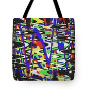 Green Yellow Blue Red Black And White Abstract Tote Bag