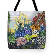 Greenhouse Flowers With Blue And Red Tote Bag