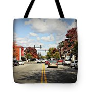 Greensboro Georgia Corner Of Main Street And Broad Street Fall Leaves Greensboro Georgia Art Tote Bag