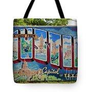 Greetings From Austin Capital Of Texas Postcard Mural Tote Bag