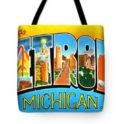 Greetings From Detroit Michigan Tote Bag