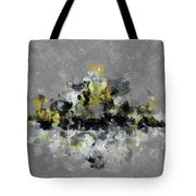 Grey And Yellow Abstract Cityscape Art Tote Bag