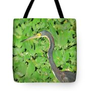 Grey Crane On Green Tote Bag