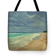 Grey Day On The Beach Tote Bag