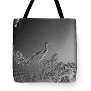 Grey Heron At Morning In Bas Relief Tote Bag