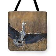 Grey Heron Landing Tote Bag