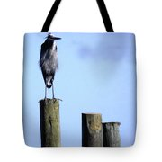 Grey Heron On A Pole Tote Bag