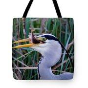 Grey Heron With Fish Tote Bag