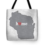 State Map Outline Wisconsin With Heart In Home Tote Bag