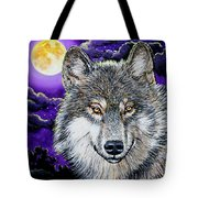 Grey Wolf And Full Moon Tote Bag