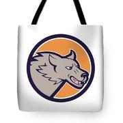 Grey Wolf Head Angry Circle Cartoon Tote Bag