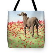 Greyhound In Poppies Tote Bag