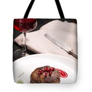 Grilled Steak Meat On The White Plate Tote Bag