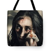 Grim Face Of Horror Crying Tears Of Blood Tote Bag