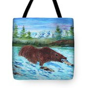 Grizzley Catching Fish In Stream Tote Bag
