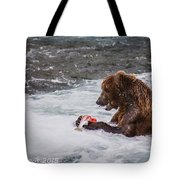 Grizzly Bear Enjoying Lunch Tote Bag