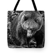 Grizzly Bear In Black And White Tote Bag