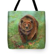 Grizzly In The Meadow Tote Bag by Lauren Heller