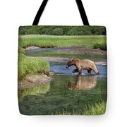 Grizzy Bear Crossing The River Tote Bag