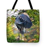 Grooming Blue Heron Tote Bag