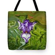 Groovy Purple Iris Tote Bag by Rebecca Margraf