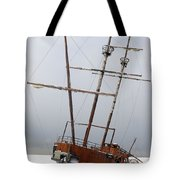 Grounded Ship In Frozen Water Tote Bag